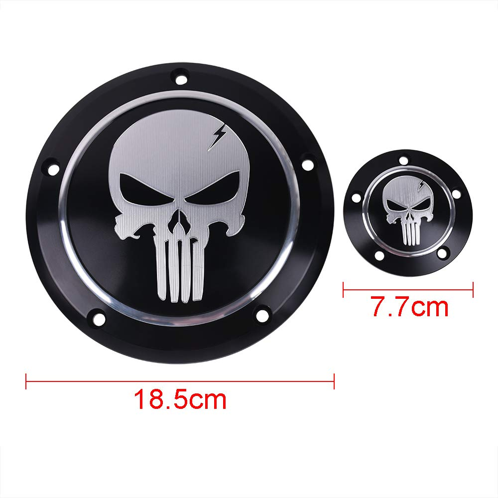 Angel Skull Goldfire CNC Derby Timer Cover and Points Covers for Harley 1999-2014 Harley Twin Cam Touring Road King Electra Glide FLHR FLHX FXST Dyna