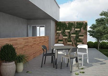 resol Mesa de jardín Exterior Cuadrada Noa 90x90 - Color Tablero Gris Oscuro, Patas Blancas: Amazon.es: Jardín