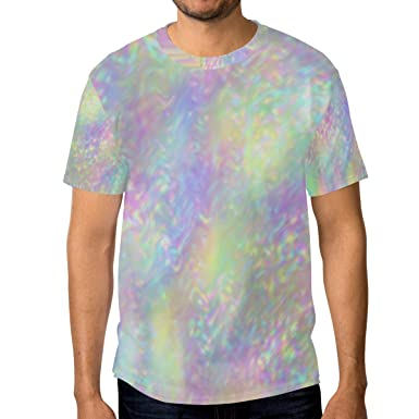 cb09eb33 Amazon.com: Men Iridescent Holographic T-Shirt Printed Short-Sleeve ...