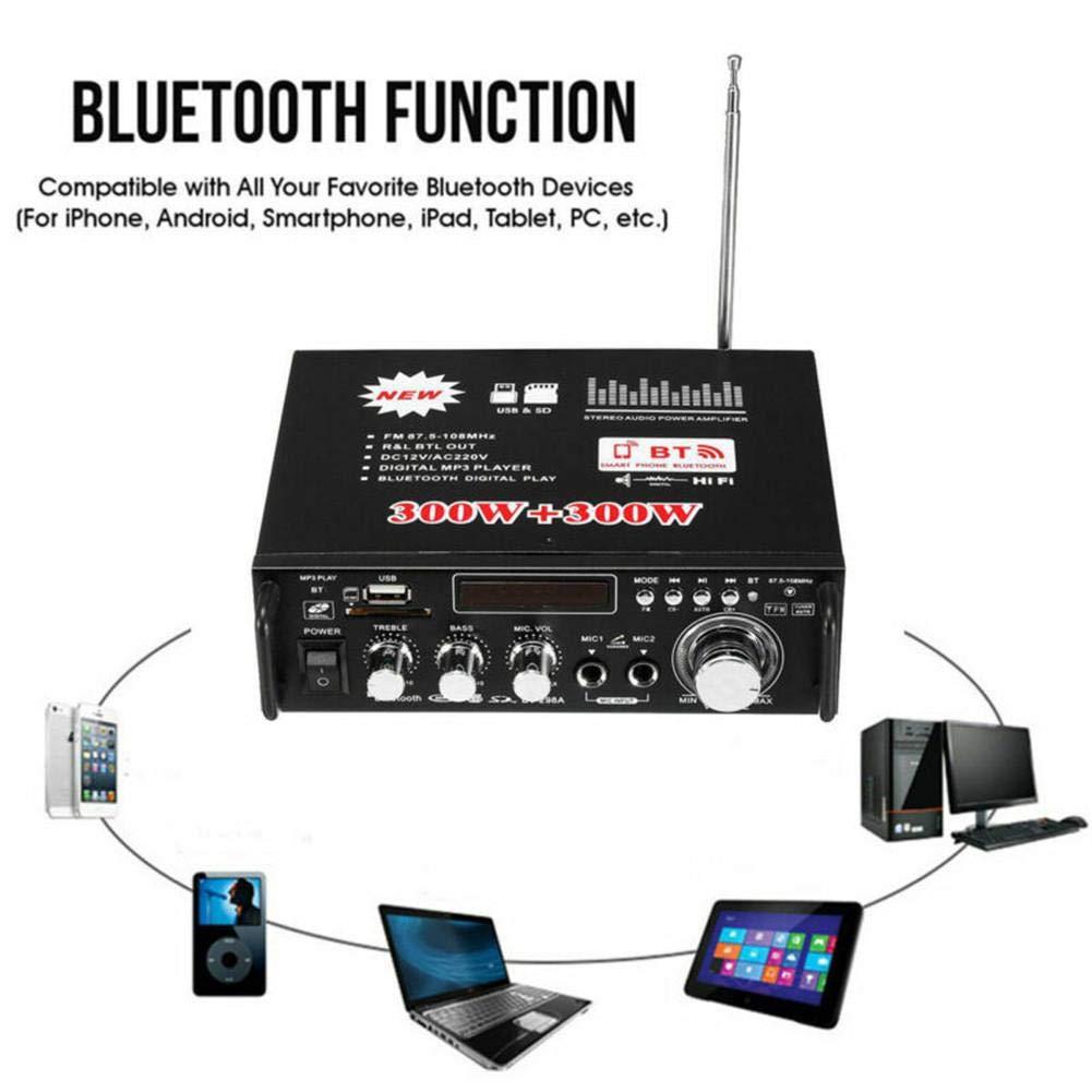 300W USB Est/éreo Mini HiFi Versat/ärker con Control Remoto para PC Party Cellar Kitchen Car Amplificador De Alta Fidelidad CH2.0 Compact 300W