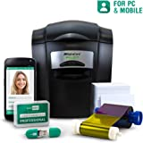 Complete ID Card Printer Bundle: AlphaCard Pilot ID Printer, EasyBadge ID Software & Mobile App, ID Supplies - 100 Premium Printable Cards