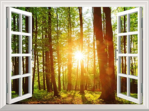 Removable Wall Sticker Wall Mural Majestic Sunset in the Forest Creative Window View Wall Decor