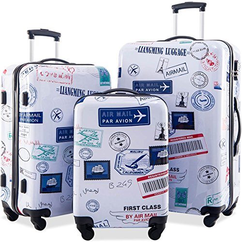 Flieks Graphic Print Luggage Set 3 Piece ABS + PC Spinner Travel Suitcase (By Mail) ()