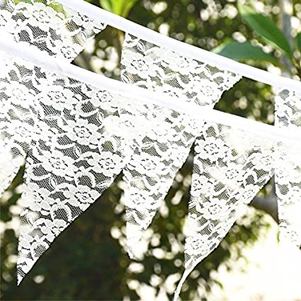 Amazon luo house vintage white lace bunting birthday wedding luo house vintage white lace bunting birthday wedding banner garland party decoration junglespirit Gallery
