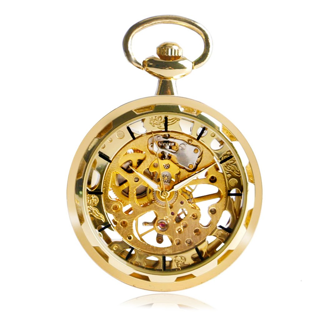 Steampunk Skeleton Mechanical Roman Numerals Pocket Watch With Chain, Open Face