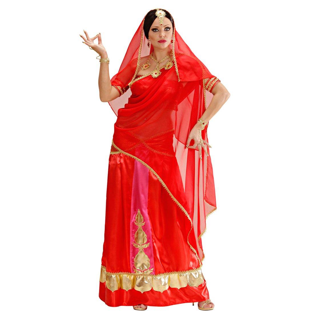 Amakando Sari Damenkostüm - L (42/44) - Inderin Kleid 1001 Nacht Gewand Indische Kleider Orient Orientalische Kleidung Damen Bollywood Kostüm