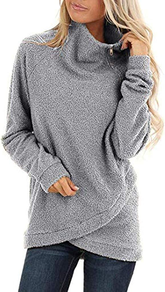 Comcialist Women Turtleneck Asymmetric Hem Cowl Neck Fleece Tops S-XXL