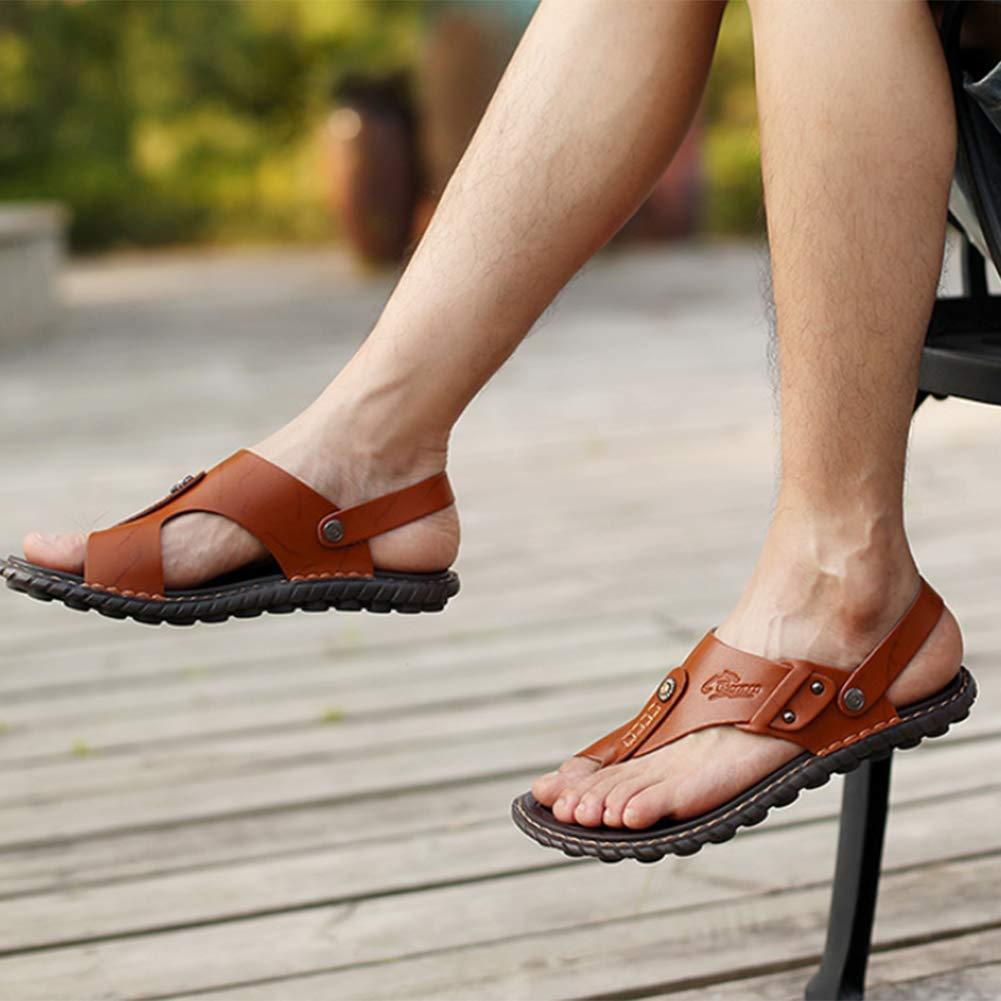 Men Split Leather Sandals Genuine Genuine Sandals Beach Slippers Summer Shoes Non-Slip Flip Flops,Brown,47 47 Brown B07GNJ3NCX 905fa9
