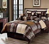 11 Piece King Leopard Patchwork Faux Fur Microfiber Bed in a Bag Set