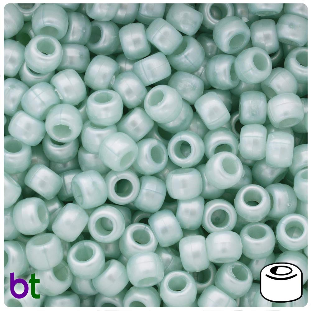 500 Lime Green Frosted 9mm Barrel Plastic Pony Beads Made in the USA
