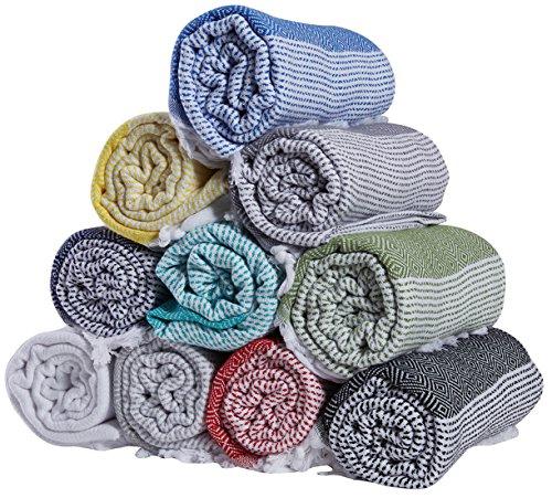 Set of 4 - New Season BRIGHTEST Diamond Weave Turkish Cotton Bath Beach Hammam Towel Peshtemal Blanket