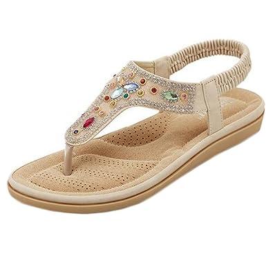d0be51ef106 cnWay Summer new bohemian flat sandals diamond shoes sandals women s casual  peep-toe flat buckle shoes ...