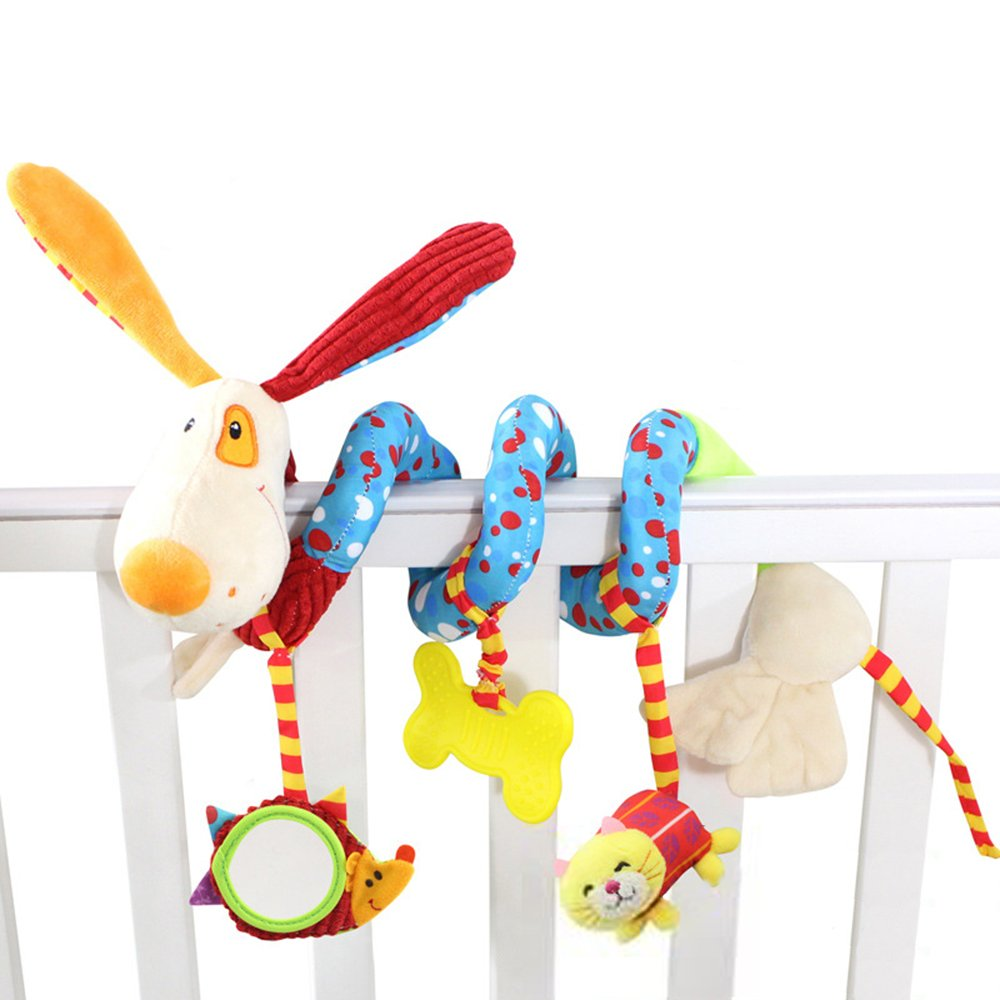 daisy's dream Plush Puppy Cartoon Stroller Hanging Rattle Toy Spiral Wrap Around Crib Bed Mobile Developmental Toy with Safety Mirror by daisy's dream