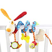 Daisy Puppy Design Infant Baby Crib Mobile Ornament Hangings Rattle Toy Spiral Activity Bar Plush Animal Stroller and Travel Toy for Pram with Safety Mirror