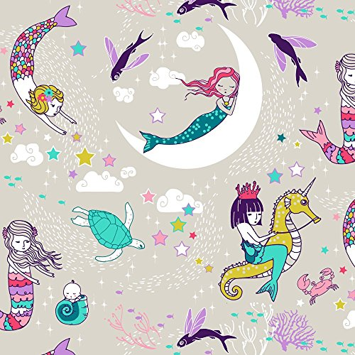 Mermaids Fabric - Mermaid Lullaby Small (Candy) by nouveau_bohemian - Mermaids Fabric with Spoonflower - Printed on Fleece Fabric by the Yard (Moon Fleece Fabric)