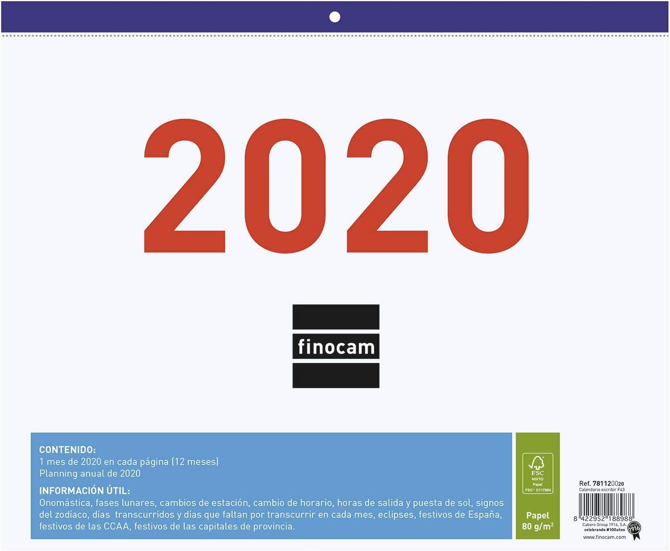 Finocam - Calendario/Faldilla 2020 Escribir F43 español: Amazon.es ...