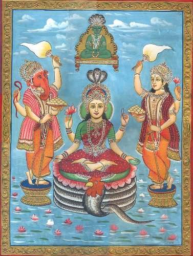 Jain Form of Lakshmi - Watercolor on Paper by Exotic India