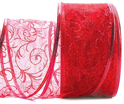 Red Gift Ribbon Wired - Red Wired Ribbon - Organza Sheer Glitter Wire Gift Wrap Ribbons for Christmas Tree, Holiday Wrapping & Valentine Day 2.5 Inches Wide x 50 Yards Long Large Roll
