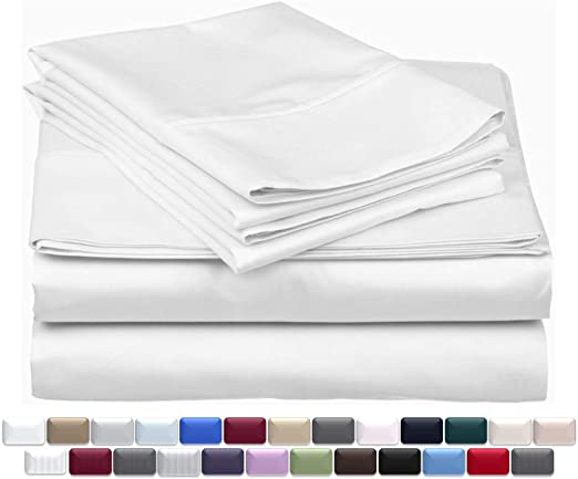 Egyptian Cotton 4pc Pillow Bed Sheet Set White Stripe 1000 Tc Extra Deep