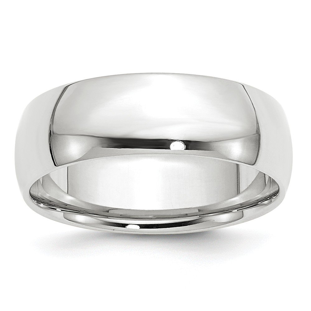 10K White Gold 7mm Lightweight Comfort Fit Band Ring