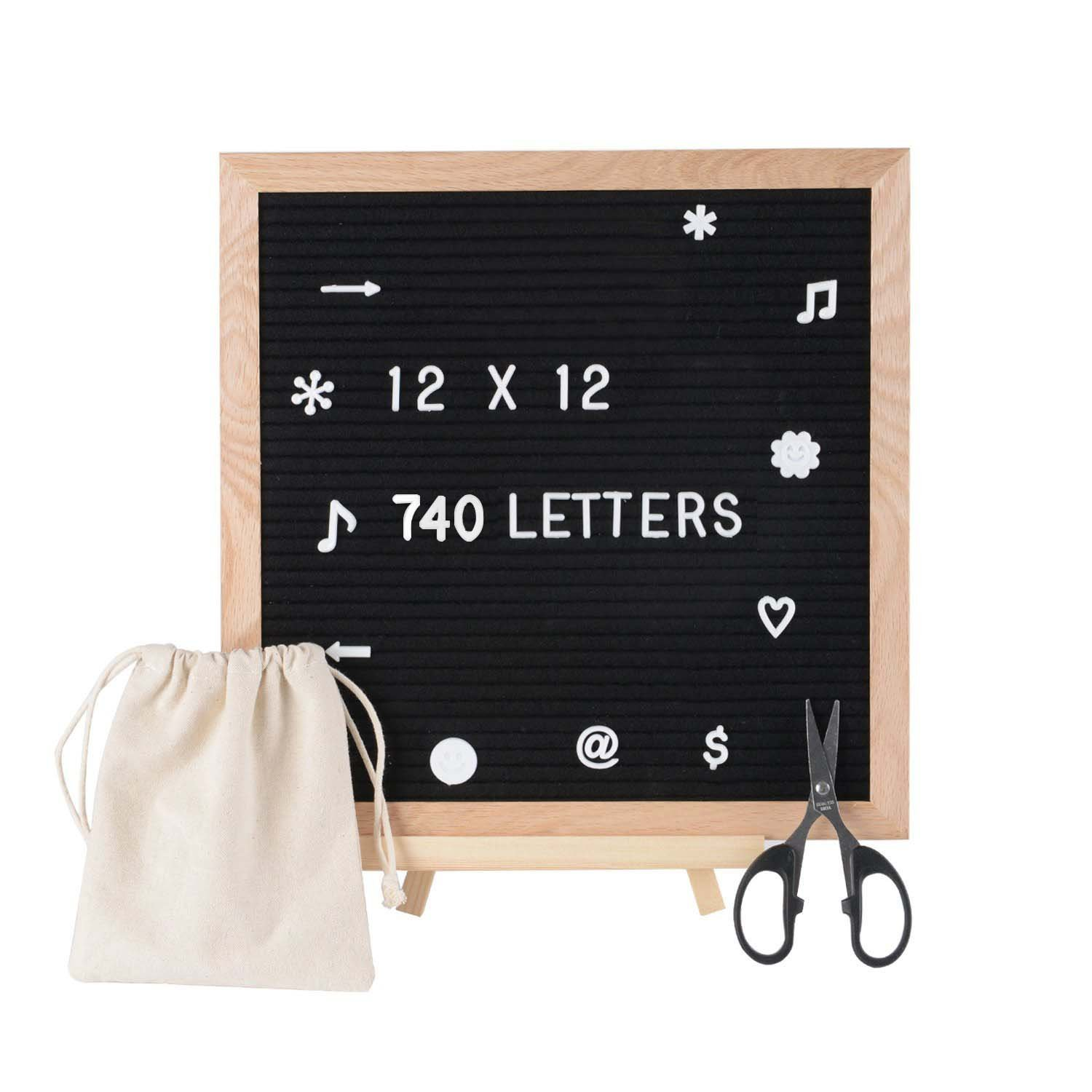 SPACECARE Black Felt Letter Board with 720PCS Letters, Numbers & Symbols, 12x12 inches Wall Mount Changeable Message Board Sign, Word Board,Letterboard