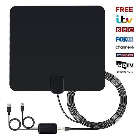 Amazon.com: Antena de TV, 60 A 80 mile de alcance interior ...