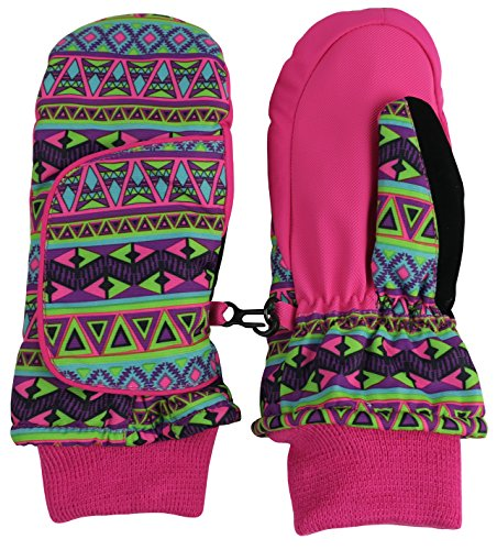 N'Ice Caps Kids Easy-On Wrap Waterproof Thinsulate Winter Snow Mitten (4-5 Years, Fuchsia Aztec Print) (Best Toddler Ski Gloves)
