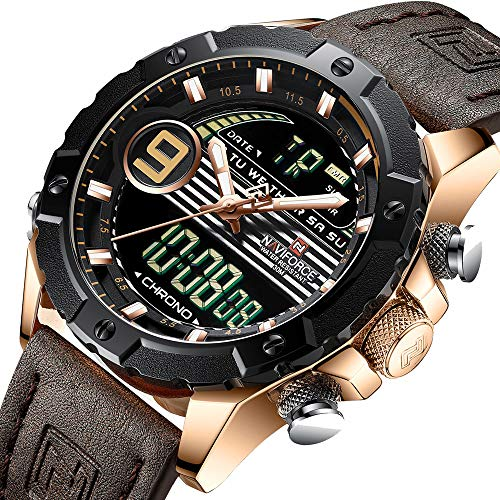 (FOVICN Mens Sports Watch for Men Genuine Leather Band Analog Digital LED Dual Time Display)