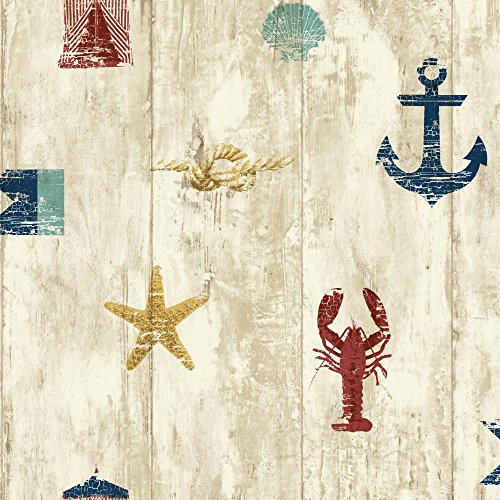 York Wallcoverings NY4882 Nautical Living Weathered Seashore Wallpaper, Beige/Cream/Red/Navy Blue/Aqua/Gold (Striped Red Wallpaper)