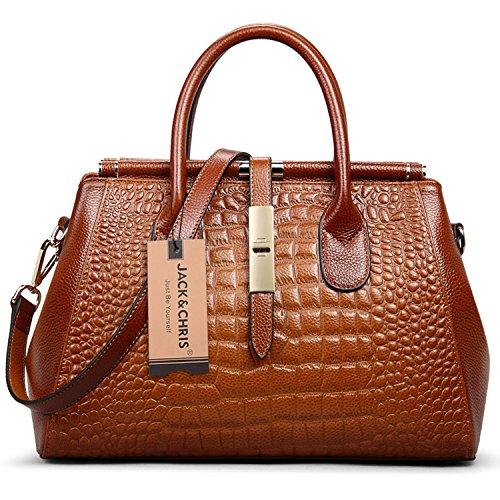 Image of Jack&Chris Women Genuine Leather Crocodile Grain Shoulder Bag Top-handle Tote, WBDZ024 (Brown)