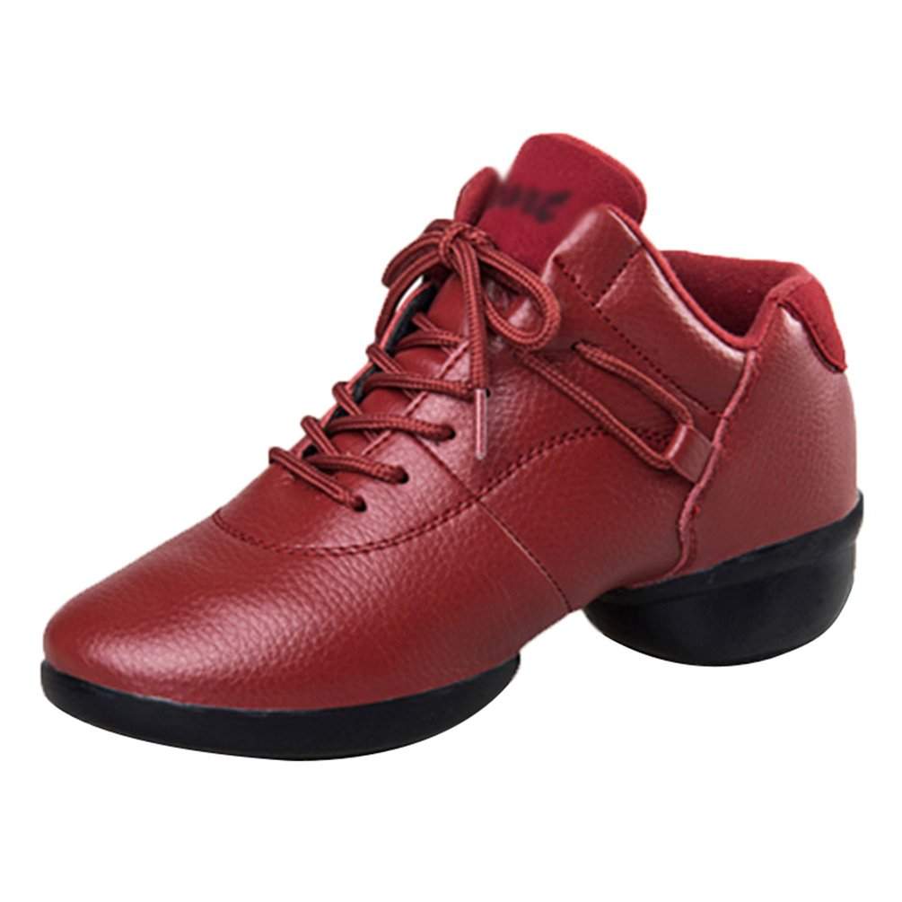 YouPue Baskets De Danse Femmes Cuir Sneaker Modern Jazz Semelles Souples Lacets Sport De Chaussures