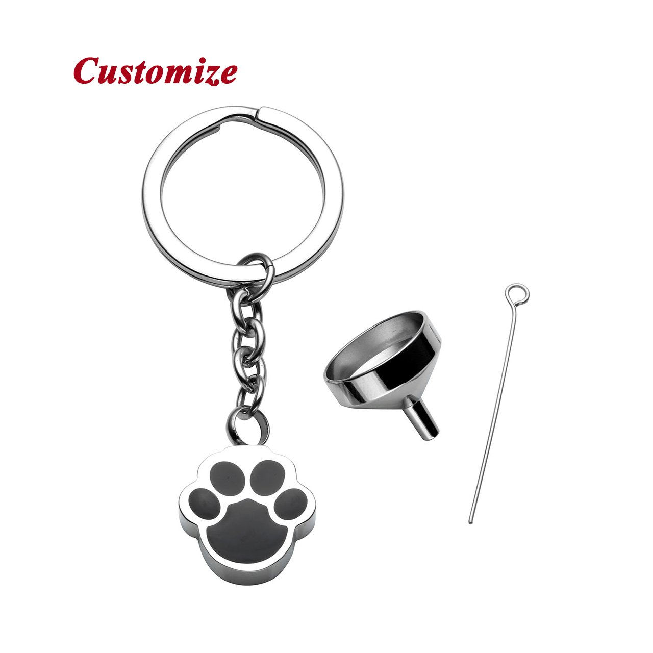PiercingJ Free Engraving - Personalized Custom Stainless Steel Pet Cat Dog Paw Container Urn Memorial Pendant Keychain Ash Keepsake Cremation Jewelry Funnel Fill Kit