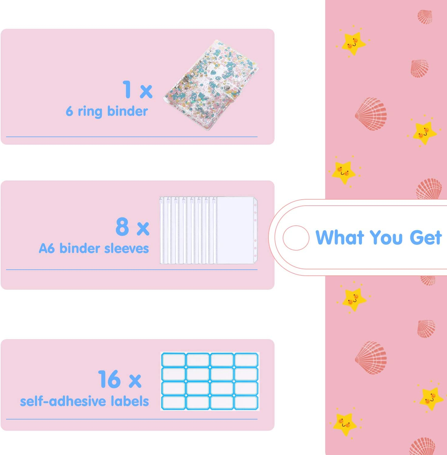 Clear Glitter Pink Clear PVC 6 Ring Notebook Binder Refillable Binder Cover with Sequins /& 8 PCS Binder Envelope Pockets /& Self-Adhesive Label Housolution A6 Binder Cover