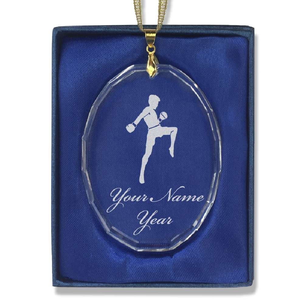 SkunkWerkz Oval Crystal Christmas Ornament - Muay Thai Fighter - Personalized Engraving Included