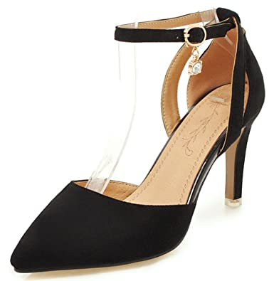 6fd50f947 SFNLD Women s Elegant Faux Suede Pointy Toe Low Cut Ankle Strap High Heeled  Sandals with Rhinestone