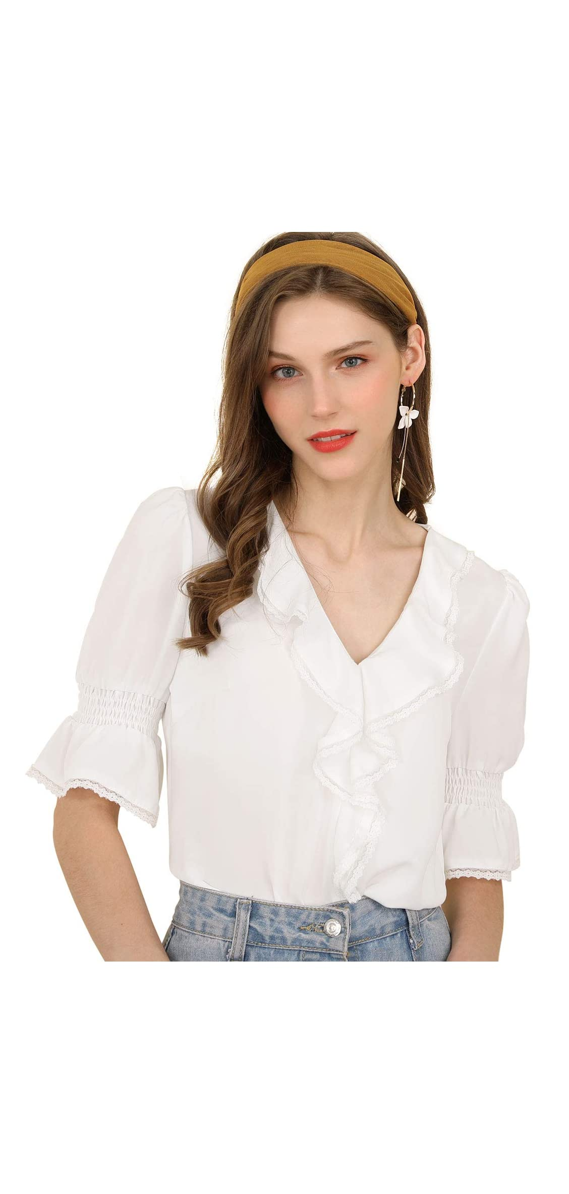 Women's Ruffle V Neck Half Bell Sleeve Blouse Summer