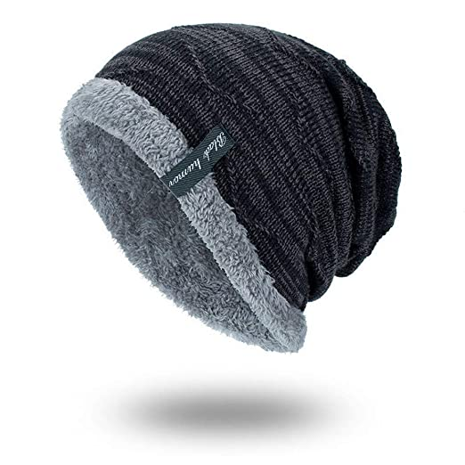 48b97a1d751 Sinma Unisex Winter Warm Thick Knit Beanie Cap Casual Hedging Head Hat  (Black)