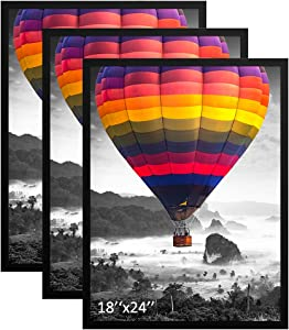 THREELOVE 18x24 Frame Black Picture Photo Poster Frame for 18x24 Print Wall Mounting Solid Wood Frame, Set of 3