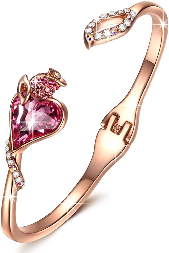 Kami Idea Brazalete, Citas Rosadas, Chapado en Oro Rosa, Cristal Rosa de Swarovski, Embalaje de Regalo, Regalos para Mamá