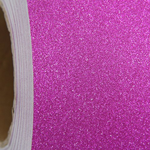 Glitter Self Adhesive Sign and Hobby Vinyl Film By The Roll - Huge 55yd Rolls - 12'' Wide - Hot Pink - Threadart by Threadart