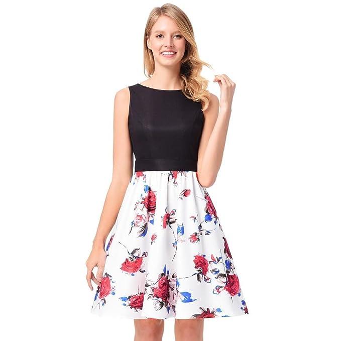 Vestido estampado Rose Robe Retro Swing Casual Vintage Vestidos sin mangas Swing Mujer Vestido de Fiesta