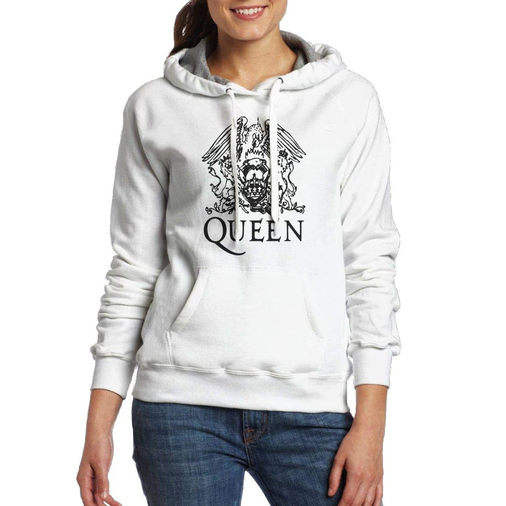Hountersimile Women Queen Band Logo Leisure White Hooded Sweatshirt with Pocket