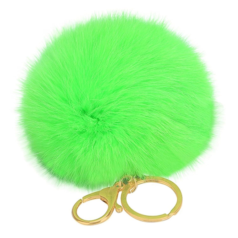 JYS365 Furry Rabbit Fur Key Ring Ball Keychain Bag Key Hanging Accessories