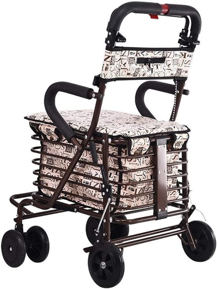 Color : B WRL/&GJP-SLC Shopping Trolley, Shopping Trolley Bearing Weight: 150Kg The Elderly Shopping Cart Stainless Steel Push-Type Walking Car Truck Light Folding Scooter