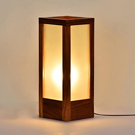 10 inch modern frosted glass table lamp in sheesham wood home decorative night lamp for