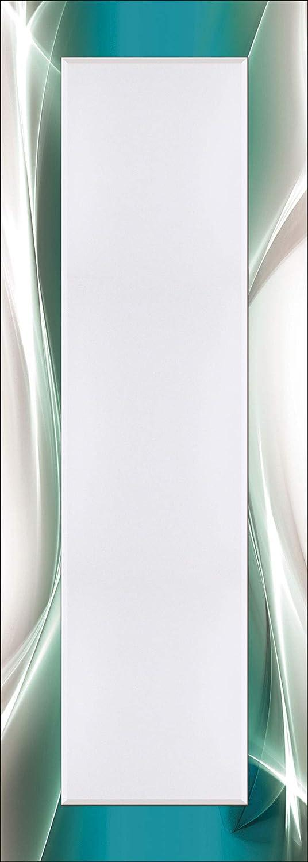 Artland Qualitätsspiegel I Spiegel Wandspiegel Deko Rahmen mit Motiv 50 x 140 cm Abstrakte Motive Gegenstandslos Digitale Kunst Türkis G5RR Kreatives Element Petrol für Ihr Art-Design