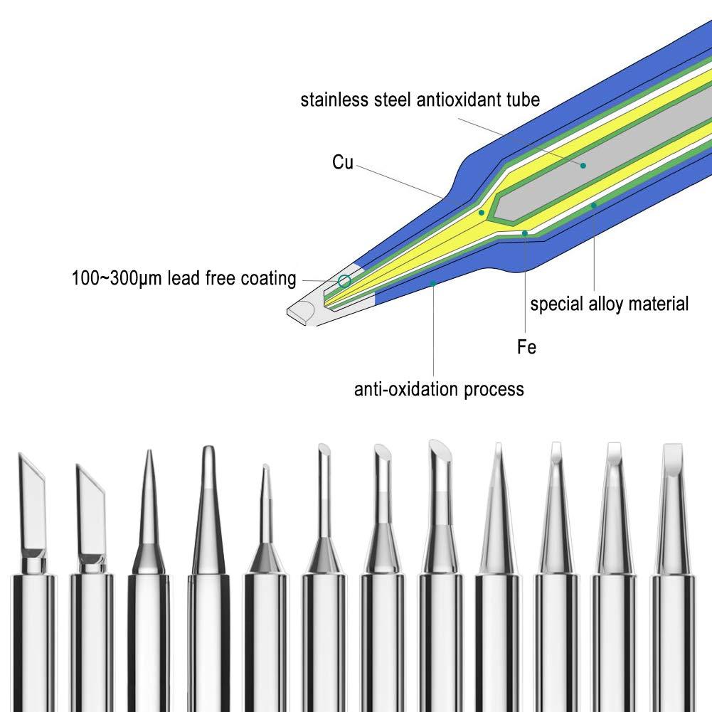 KeeYees 12 St/ücke L/ötkolben Kit Kupfer L/ötkolbenspitzen L/ötspitze beschichtet mit Nickel Eisen Ersatzl/ötspitzen Set f/ür L/ötkolben 900M-T Serie K SK B I 1C 2C 3C 4C 0.8D 1.2D 1.6D 2.4D Form