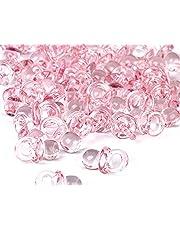 homiki 50pcs Mini Sucettes Décorations pour la Fête prénatale Baptême Sucettes Charme Cristal Pendentif (Rose)