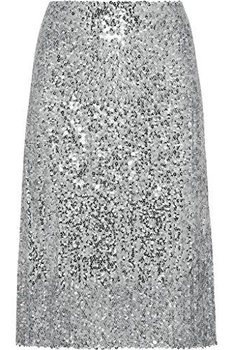 flowerry Women Silver Black Sequin Skirt Knee Length Sequin Skirt Party Sequin Skirt