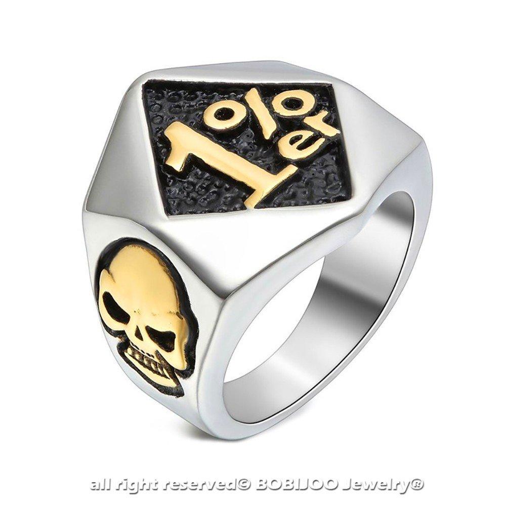 BOBIJOO Jewelry Chevali/ère Bague Homme Club Motard Biker T/ête de Mort Acier Argent/é Dor/é Or